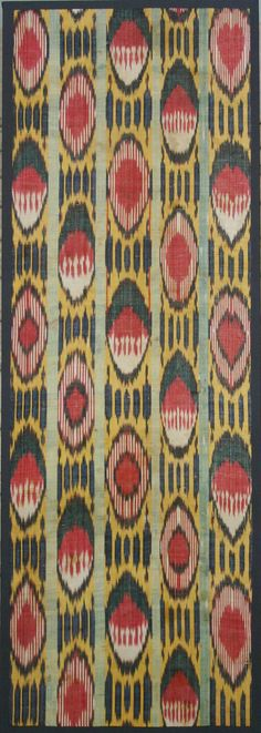 "Ikat (Uzbekistan) Section of Loom Length 52"" X 19"" 3rd quarter 19th century Silk Ikat Warp; White Cotton Weft; Warp Faced Plain Weave."
