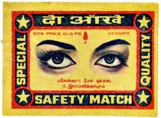 Includes the eye in the illustration. Matchbox Art, Vintage India, Vintage Stamps, Perfect Match, Pop Art, Illustration, Cards, Label, Amitabh Bachchan
