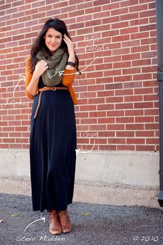 Maxi dress+sweater+infinity scarf+boots=INSTANT OUTFIT! Tada!