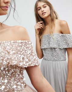 Buy Maya Bardot Sequin Top Tulle Detail Dress With High Low Hem at ASOS. With free delivery and return options (Ts&Cs apply), online shopping has never been so easy. Get the latest trends with ASOS now. Metallic Bridesmaid Dresses, Metallic Dress, Sequin Top, Bardot, Maya, Party Fashion, Fashion Online, Strapless Dress, Sequins