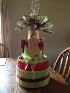Kitchen Shower Dishtowel Cake for Sara's Shower