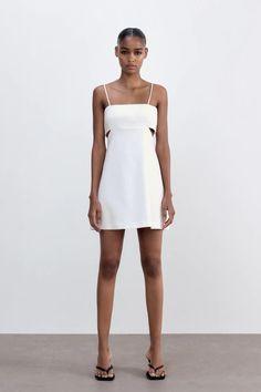 CUT-OUT DRESS   ZARA United Kingdom Zara United Kingdom, Zara United States, Zara Dresses, Summer Outfits, Summer Clothes, Bridal Shower, One Shoulder, Spring Summer, Shower Dresses