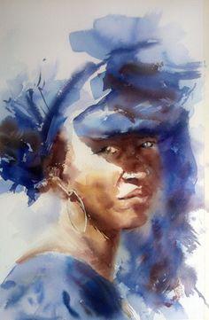 Watercolor Portrait Painting, Watercolor Artists, Abstract Watercolor, Portrait Art, Watercolor Illustration, Painting Canvas, Painting Abstract, Abstract Faces, Art Abstrait