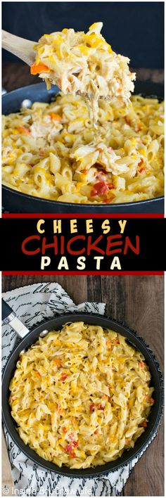 Cheesy Chicken Pasta - gooey cheese and pasta in under 30 minutes gets smiles from everyone at dinner.  Great recipe for busy nights!