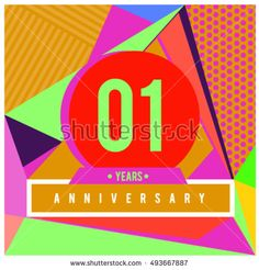 1st years greeting card anniversary with colorful number and frame. logo and icon with Memphis style cover and design template. Pop art style design poster and publication.