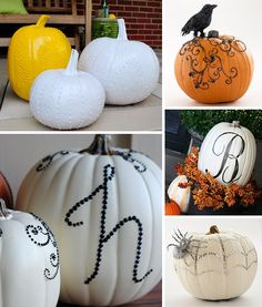 Clockwise from top left: Puffy Painted Pumpkins, Sequined Swirls, Monogram, Blinged Out Spider Web, Sequined Monogram