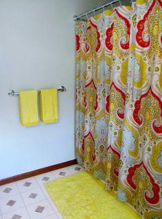 shower curtain...looks like a fun teen bathroom