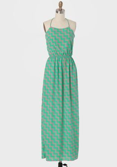 Mariette Printed Maxi Dress In Chevron