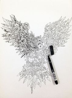 "Kerby Rosanes creates doodles. His most recent work is called ""Time Guardian."" This stunning portrait of an owl features an unexpected twist – the whole thing is drawn out of minutely detailed gears, cogs and other mechanical bits, giving the soaring owl an intricate steampunk look."