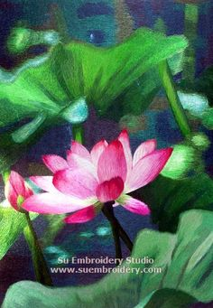 Lotus flower, silk embroidery painting, all hand embroidered with silk threads on silk by embroidery artists from Su Embroidery Studio, Suzhou China