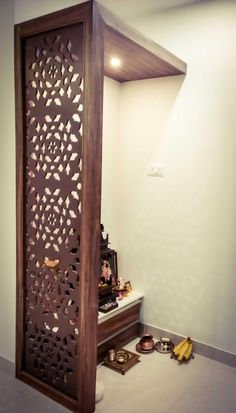 – Hsci Pvt Ltd Images, Baner, Pune – Architects - All About Balcony Living Room Partition Design, Pooja Room Door Design, Room Partition Designs, Home Room Design, Home Interior Design, Interior Decorating, Bedroom Furniture Design, Home Decor Furniture, Temple Design For Home