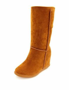 Sueded Slip On Wedge Boot: Charlotte Russe A LITTLE WEIRD...