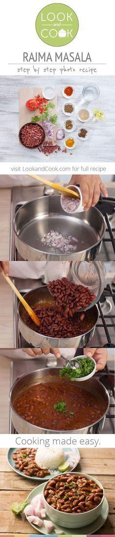 Rajma Masala (LC - A popular North Indian dish, is also Vegan and Vegetarian. Veg Recipes, Curry Recipes, Indian Food Recipes, Asian Recipes, Vegetarian Recipes, Cooking Recipes, Healthy Recipes, Recipies, Rajma Masala Recipe