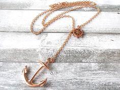 Geschenkidee für Weihnachten: Anker und Steuerrad Kette in Rosegold / find christmas gifts for her, necklace rosegold with anchor by CharmeandShine via DaWanda.com