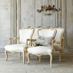 Eloquence One of a Kind Vintage French Style Louis XV Armchairs Pair Serpentine
