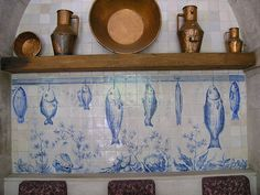 Fish Tiles in the restaurant, Tile Museum, Lisbon.     by tvindy, via Flickr