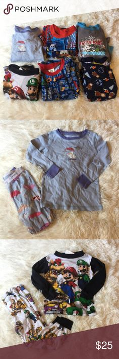 Lot of 6 Boys Size 4T Pajama Sets These pajama sets are in well loved condition with signs of wear but still have lots of life left. The signs of wear include fading or light pilling or even the very rare mark but no holes. 2 Old Navy sets, 1 Nintendo Super Mario Bros set, 1 Curious George set, 1 Cars set, and 1 Faded Glory toolbox set. Some are marked just as a size 4 but they are all the same size. Some are the snug  fit while others are purposely loose. Please comment any questions or…
