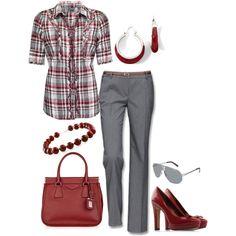Ruffle Plaid Shirt & Gray Pants