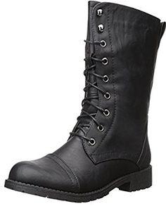 Amazon.com   Nature Breeze Lug-11 Leatherette Lace Up Military Boot   Boots