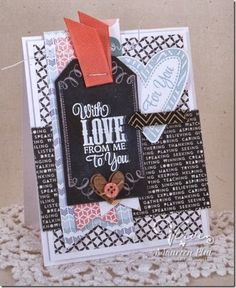 Card by Maureen Plut using Chevron Love from Verve.  #vervestamps