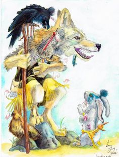 "The Native Americans call the trickster the ""coyote"" Independencde Day Native American Artwork, Native American Indians, Coyote Tattoo, Trickster Tales, Laugh Cartoon, World Mythology, American Cartoons, Red Indian, Medicine Wheel"