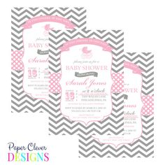 Girls Baby shower invitation carriage chevron by paperclever, $13.00