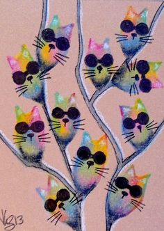 """Aceo Original """"TIE DYED PUSSY WILLOWS """" pencil/ink ON EBAY"""