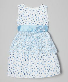 Light Blue & White Floral Tiered Dress - Infant, Toddler & Girls
