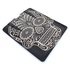 Leather new iPad case  Sugar Skull in Black by tovicorrie on Etsy, $100.00