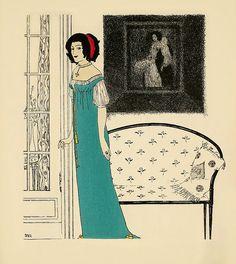 """Paul Iribe : Plate 4 of """"Les Robes de Paul Poiret"""", 1908"""
