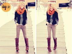 brown boots, grey jeans, navy blazer, striped shirt, orange scarf
