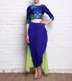 Saachi Thahryamal - Blue Raw Silk & Georgette Dhoti Set With Thread Work Click on the photo to shop! :)