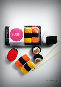 Felt sushi. Cute. Great for the kids.