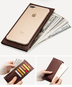 Ever though of adding a phone in your wallet? Try this leather phone wallet. Choose from 2 classy designs, crocodile grain or bamboo pattern. Phone Wallet, Phone Cases, Crocodile, Bamboo, Iphone, Pattern, Leather, Patterns, Phone Case