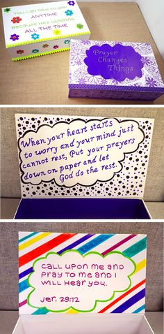 A great functional craft activity for your Sunday School, VBS, or even at home! Have your group create their own prayer box to help them direct their thoughts and prayers, and become closer to God. Begin a discussion about what types of things we would ask God, and why we would confide in Him. This will help guide them with what to keep in their prayer box, and to have faith that He is always listening.