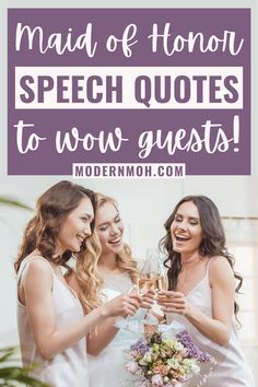 Enhance your maid of honor speech by featuring one of these sentimental quotes. From funny one-liners to closing toasts, we've got you covered! #maidofhonorspeechquotes #maidofhonortoasts #maidofhonorspeech #ModernMOH Funny Wedding Toasts, Wedding Toast Quotes, Wedding Speech Quotes, Wedding Speech For Sister, Wedding Humor, Bridesmaid Speech Examples, Wedding Speech Examples, Bridesmaid Speeches, Sister Wedding Speeches