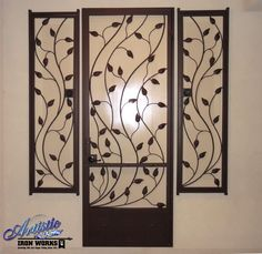 Crescente - Leaf & Vine wrought iron security screen door and window guards with the ability to open and be locked. Model: SD0226