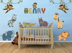 Jungle Wall Decal - Personalized Kids Wall Decals SET - Giraffe, Lion, Elephany, Monkey  - Baby Boys Girls - Repositionable Decal