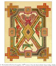 The Symbols of the Four Evangelist (VIIth Century).  From the Book of Kells, Trinity College, Dublin.