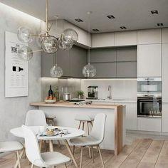 Decoração - cozinha americana pequena com bancada #decoração #cozinha #bancadacozinha #cozinhaamericana