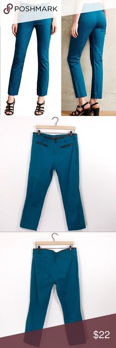 """Anthropologie Cartonnier Charlie Ankle Pants ✔️Inseam: 25.5"""" ✔️Faux Leather Waist/Pocket Trim ✔️97% Cotton•3% Spandex ✔️Slight Iron Mark I'm Inside Left Thigh (as seen in last picture) ✔️1672-9 Anthropologie Pants"""