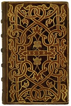 "Jean Calvin (1509–1564).  Brieve instruction... contre les erreurs de la secte commune des anabaptistes.  Geneva: Jehan Girard, 1545. The ""1552"" bindings were produced in a Parisian atelier that bound books for Thomas Wotton (1521–1587) of Kent,  the ""English Grolier."" The first Englishman to assemble a library of gold-tooled bindings, Wotton appears to have been inspired by Grolier's library. His own library suggests that he was well-read in Classics & theology in Latin & French, & Calvin."