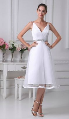Simple Casual Spaghetti Straps Knee-length Tulle Beaded Bridal Dress with Deep V Neck for Older Bride