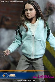 This highly-detailed figure of aka Laura is based on the likeness of Dafne Keen in Logan! X 23, Logan, Light Blue Hoodie, Hooded Jacket, Bomber Jacket, Green Backpacks, Teenager Outfits, Grey Pants, White Long Sleeve