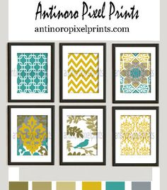 Digital Print Wall Art Mustard Yellow Teal Green Grey Vintage / Modern inspired Wall Art -Set of 6 - 8x10 Prints -   (UNFRAMED) on Etsy, $55.00