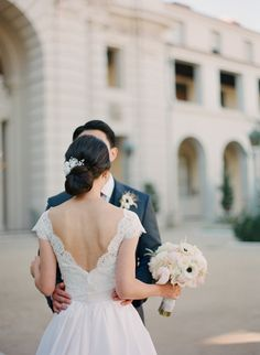 2014 Wedding Trends | Dramatic Backs | Deep-V, Lace Wedding Gown