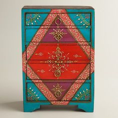 Cost Plus World Market TURQUOISE PAINTED 5-DRAWER CHEST