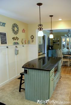 Kitchen Island Duck Egg Blue Chalk Paint / Walls - Sherwin Williams Ivoire & Blonde