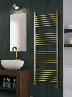 gold heated towel rails, polished stainless steel heated towel rails,