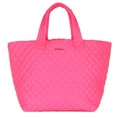 Our ultimate travel, gym, all-purpose tote in a bold bright neon pink. Our incredibly lightweight, durable, and soft signature Quilted Oxford Nylon makes it foldable, rollable, packable, even crushable, and it will never lose its shape. With comfortable padded and reinforced handles.  MZ WALLACE